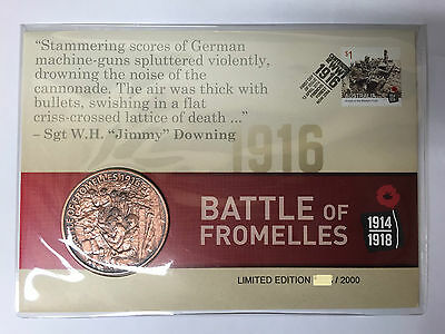 2016 Australia Post 1916 BATTLE OF FROMELLES MEDALLION COVER PNC Limited Edition