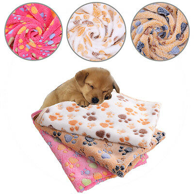 Coral Fleece Pet Blanket Puppy Dog Cat Animal Mat Cage Bed Rug Cute Pink Beige G