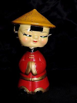 Vintage Cxgc Hand Decorated China Woman  Girl Bobble Head Rhinestone Eyes Japan
