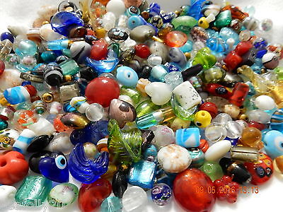 1 Kg  glass bead mix silver foil crystal lampwork + more - combined post savings