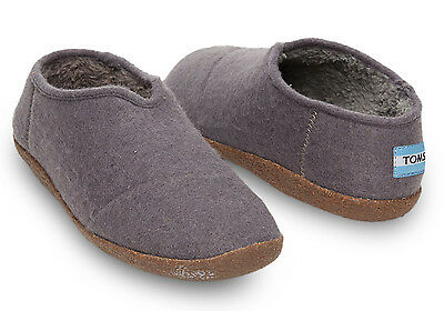 TOMS Gray Charcoal Wool Men's Slippers Size 12 NEW!