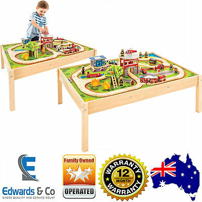 Childrens Wooden Train Table Train Set Fire Trucks Toy Kids Thomas the Tank Brio