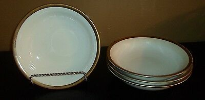"""(4) Pottery Barn White with Gold Band 8 1/2"""" Soup/Cereal Bowls"""