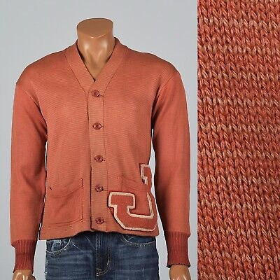 M Vintage 1930s 30s Mens Letterman Cardigan Sweater Knit Wool Preppy Ivy League
