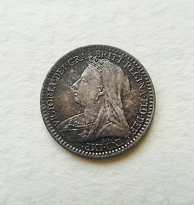 British Queen Victoria 1894 Silver Maundy Penny 1d Coin - Toned- Uncirculated