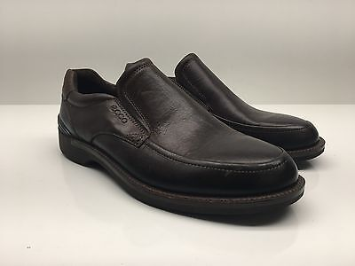 $179 Ecco Brown Leather Apron Toe Casual Slip-On Loafer Men's size 39 NEW