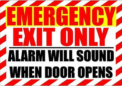 Emergency Exit Only Security Alarm Will Sound Decal Safety Sign