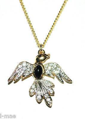 Vintage Bird In Flight Crystal Pendant Gold Plated Mesh Chain Necklace Sphinx