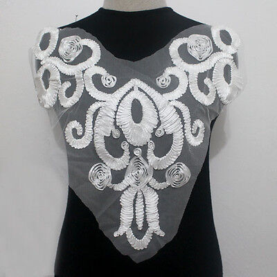 1Pcs Collar Neck Embroidery Ribbon Tulle Lace Applique/Patch~Sew On Off White