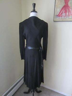 Vintage 1940's Vintage Black Rayon Crepe Dress Lovely Pleated Design As Is S M