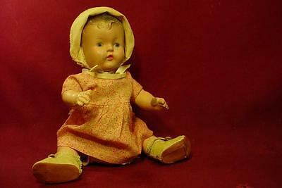 """Cute 12"""" Antique Composition Bent Leg Baby Doll In Original Outift"""