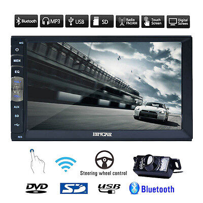 Universal 2 Din In Dash Capacitive Car Stereo Mirror Link NO-DVD Player+Camera