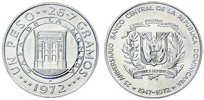 Dominican Republic 1 Peso,26.7g Silver/Copper Coin,1972,KM # 34,Mint,25th Anniv.