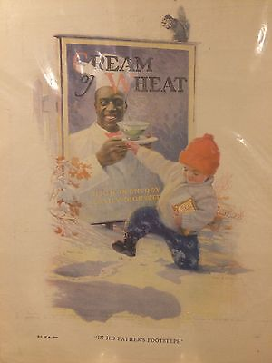 In His Father's Footsteps Cream of Wheat ad 1924 Rastus & kid in galoshes
