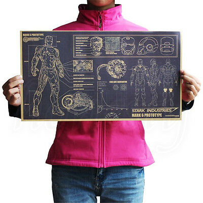 Iron Man Design Drawings Vintage Posters Kraft paper Home Decoration 51.5 X 29cm