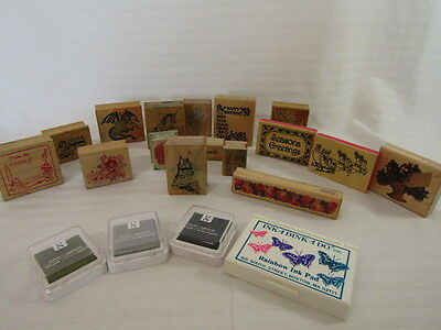 16 Rubber Stamps Large & 4 Ink Pads