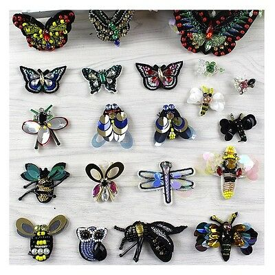 Sequins Beaded Insects Sew on Embroidery Costumes Applique Patch Lace #306