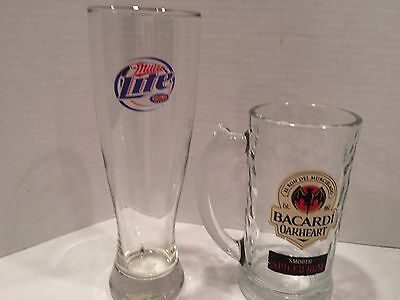 "Bacardi Oakheart Smooth Spiced Rum Drinking Glass Mug 6"" X 3"" & Miller Lite Glas"