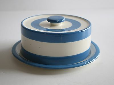 Blue & White Butter Dish Plate & Lid Vintage