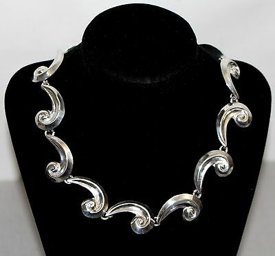 Taxco Solid Sterling Silver Mexican Wave Collar Necklace 59.73g