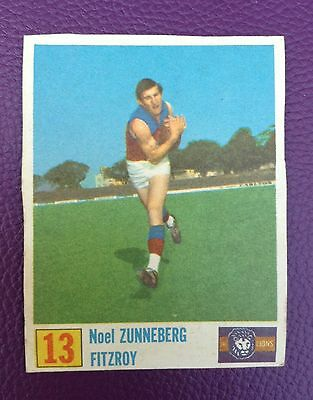 Old 1970 Kelloggs Vfl Football Cereal Cut Out Card Noel Zunneberg Fitzroy Lions