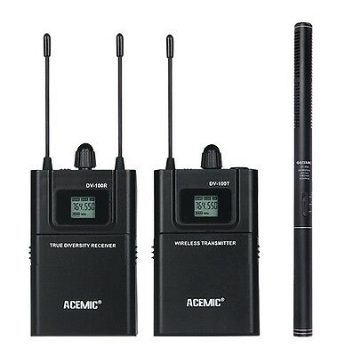 ACEMIC UHF 600-928MHz True diversity Wireless Mic Set Microphone for Camera DSLR