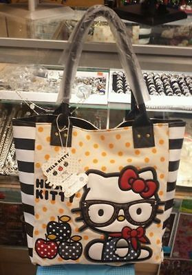authentic loungefly hello kitty nerd apple tote bag with polkadots and stripes