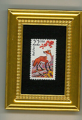 Red Fox  -  A Collectible Glass Framed Postage Masterpiece!