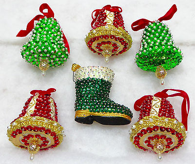 Vintage Elaborate Sequin Beaded Christmas Ornaments Boots Bells
