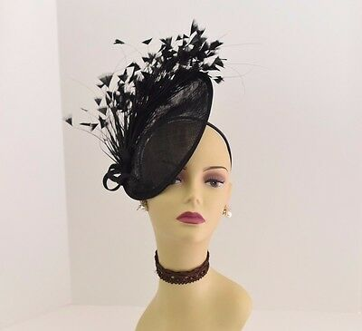 Kentucky Derby Wedding Tea Party Sinamay feather Fascinator Cocktail 617 (Black)