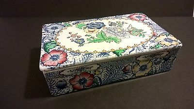 Antique Copeland Spode porcelain ceramic trinket box with lid painted England