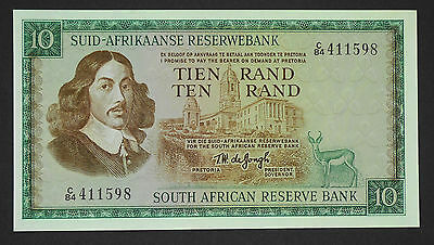 (1967) SOUTH AFRICA TW de JONG 10 RAND ND 1st issue In Afrikaans Pick#114b aUNC
