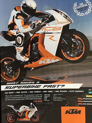 "KTM 1190 RC8R # 2011 MODEL # ORIGINAL MOTORCYCLE ADVERT # 11"" x 8"""