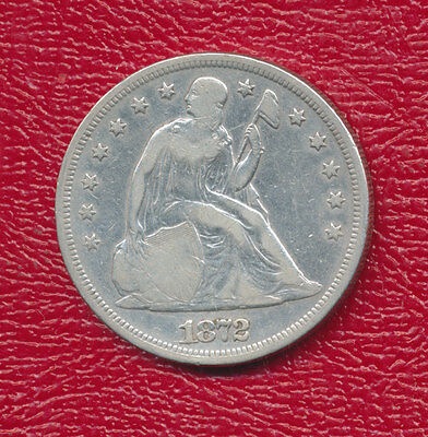 1872 Seated Liberty Silver Dollar -Scarce Coin! **nice Circulated** Free Ship!