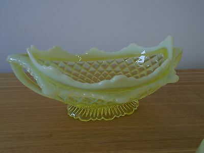 George Davidson Vaseline Primrose Yellow Quilted Pillow Sham Pearline Glass Bowl