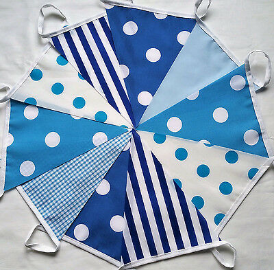 Polka Stripe Mix Handmade Fabric Bunting BLUE HUES 10 Ft/3m Boy's Party Banner