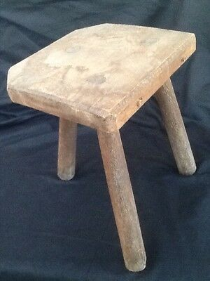 Vintage French Wooden Milking Stool Half Moon 3 Legged Rustic Farmhouse Shabby