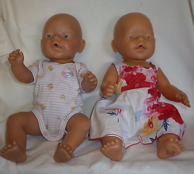 2 x Zapf Baby Born with Clothes - Blue Eyes, Pink Eyes (Twins)