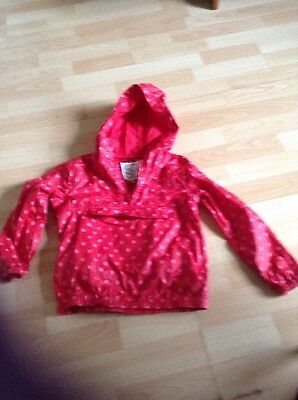 Fat Face Girls Anorak Age 4-5yrs - Red Spotty Pattern