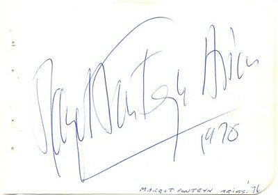 Margot Fonteyn signed autograph album page 1976 English ballerina Royal Ballet