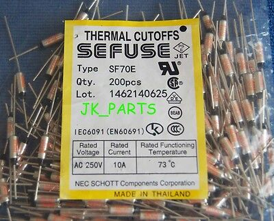 10pcs SF70E SEFUSE Cutoffs NEC Thermal Fuse 73°C Celsius Degree 10A 250V