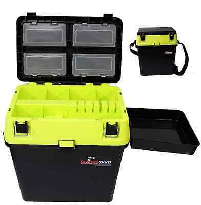 Hi Viz Yellow Black Fishing Seat Box With Side Tray For Carp Sea Fishing Tackle