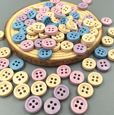 NEW 100PCS Mini Mixed Wooden Buttons Sewing Scrapbooking Craft 4 hole 10mm