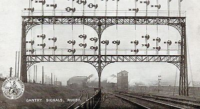 London and North Western Railway Company postcard of Gantry Signals at Rugby