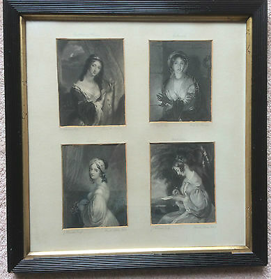 Antique 1836 Character Engraving: THE MAID OF ATHENS & 3 other maids-framed