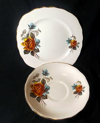 Royal Vale Sideplate & Saucer White With Gold Trim With Gold Roses.