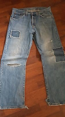 auth  mens levis 542  jeans  distressed patched ripped by levis 34/32