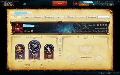 Compte League of Legends lvl 30, 114 champions, 34 skins, Gold S6