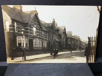 Rare Old Rppc Children Playing In St Lads On Skates Hoop N Stick Gas Lamps Cars?