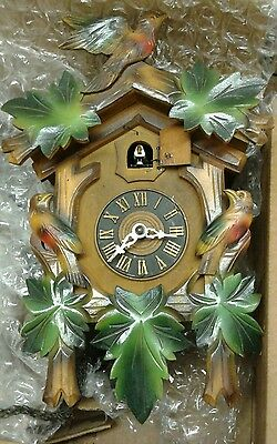 Vintage Cuckoo Clock 1945-1949 Made in Germany Colored birds and leaves